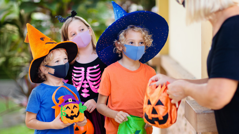 Children going trick-or-treating