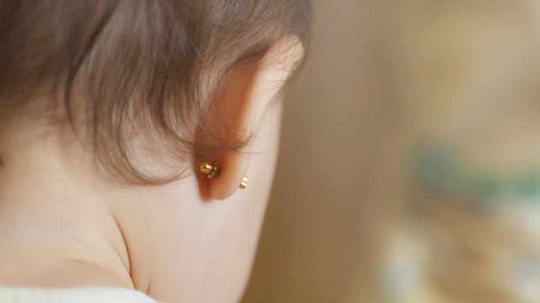 Ear piercing for baby
