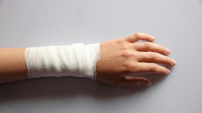 Close up of a bandaged arm