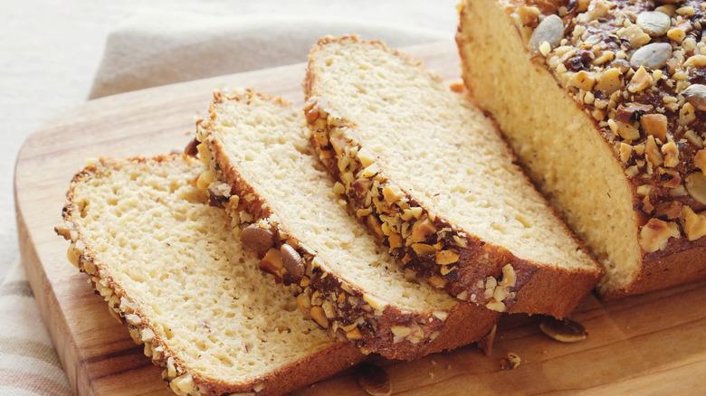 Loaf of sliced keto bread