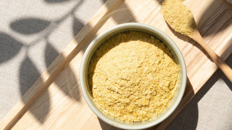 bowl and spoon of nutritional yeast