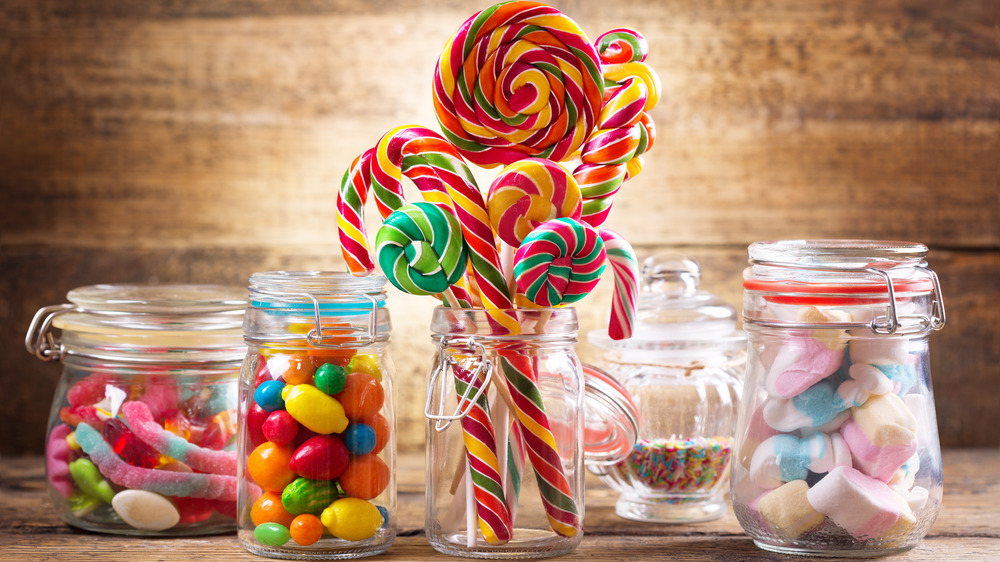 Colorful candy options in glass jars