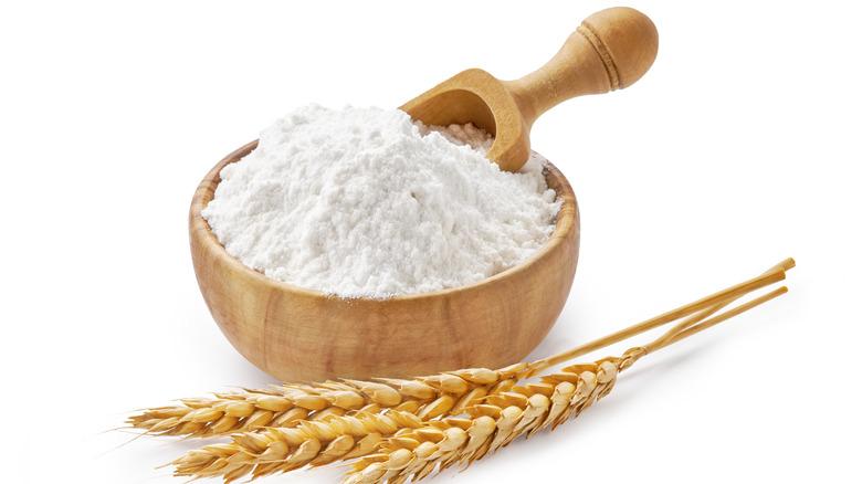 stalk of wheat with white flour
