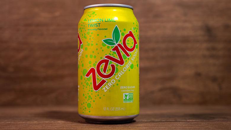 Store shelf full of Zevia soda cans
