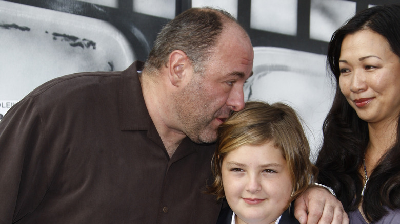 James Gandolfini with his wife and youngest son