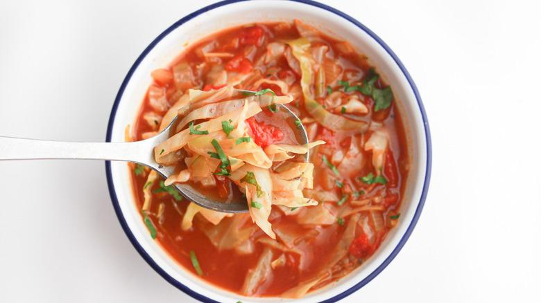 Keto cabbage soup recipe in dish