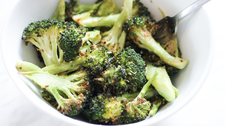 keto roasted broccoli in a bowl