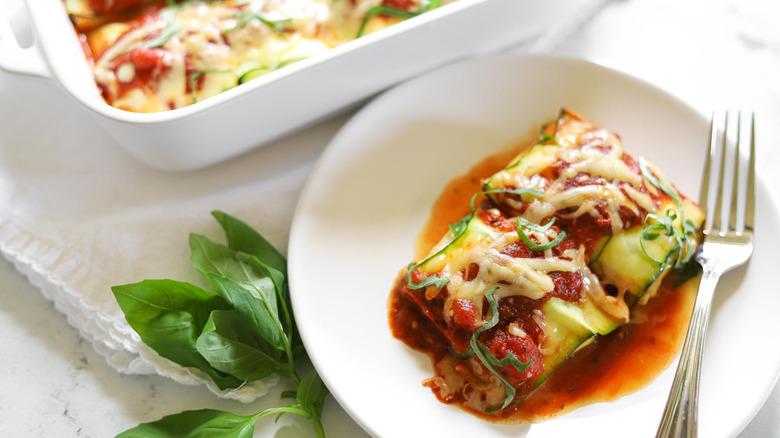 slice of keto zucchini meat ravioli