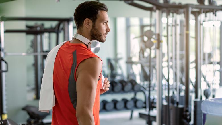 man entering gym