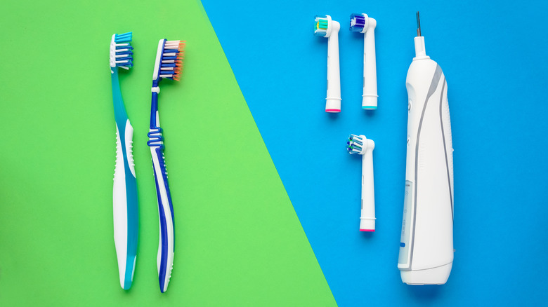 Side by side view of manual  and electric toothbrushes