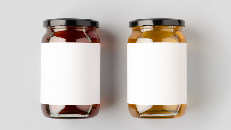 jars of maple syrup and honey