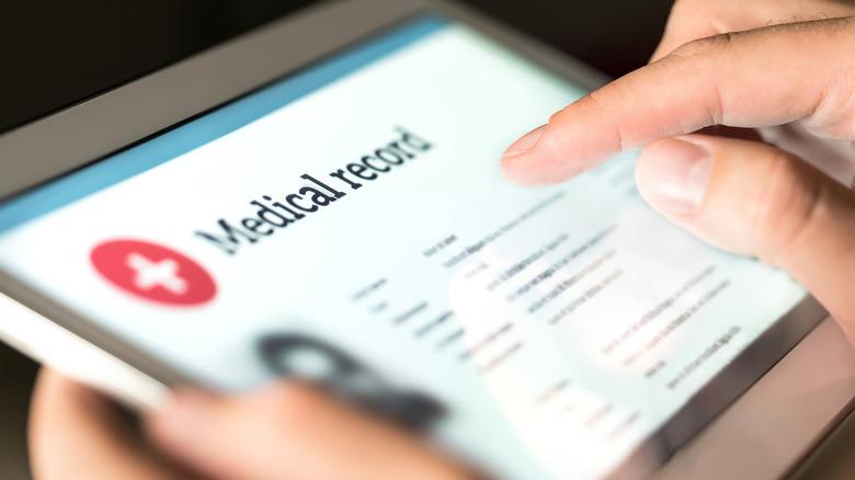 closeup of medical record