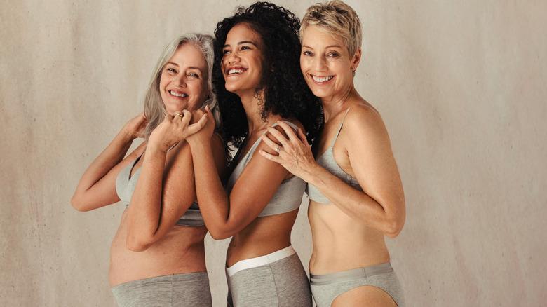 women in grey underwear sets