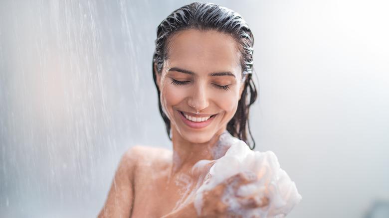 woman showering