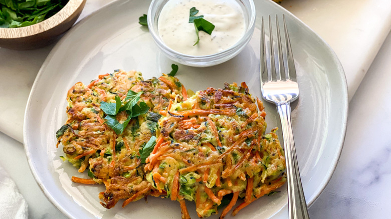 plate of carrot pancakes