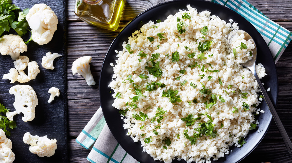 Overhead view of cauliflower rice