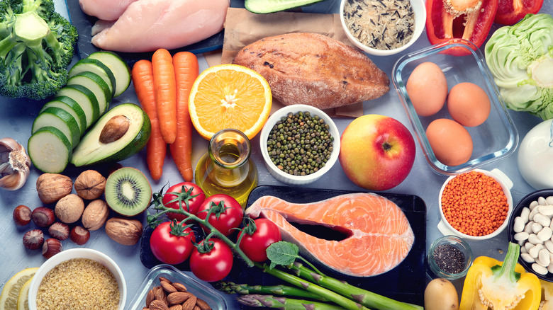 large assortment of foods representing a healthy, balanced diet