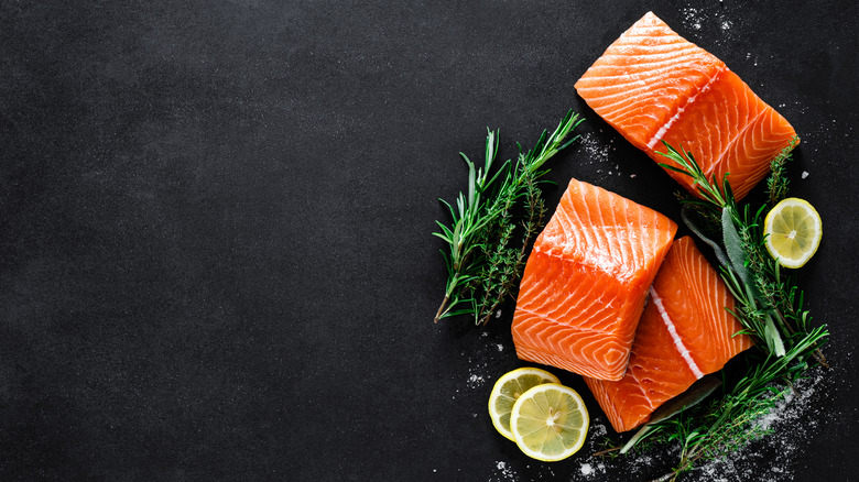salmon on black board