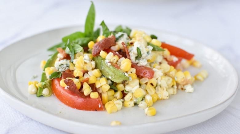 Summer corn salad on plate