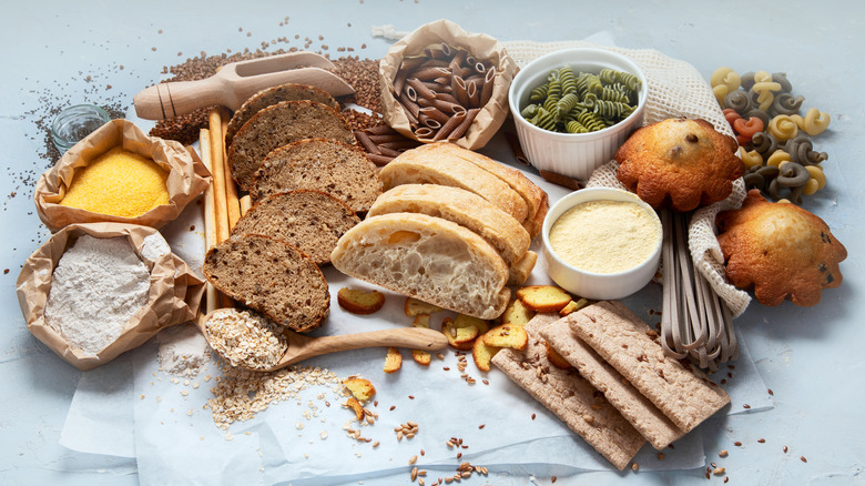 A large spread of foods high in carbohydrates