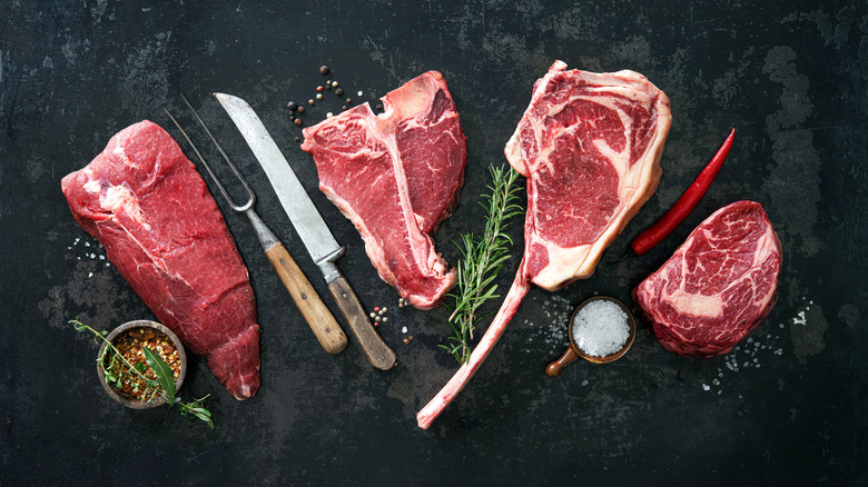 Several types of raw steak