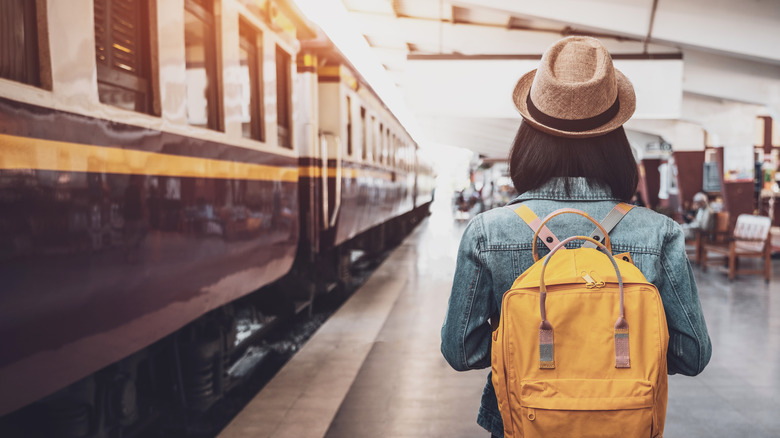 woman traveler backpack