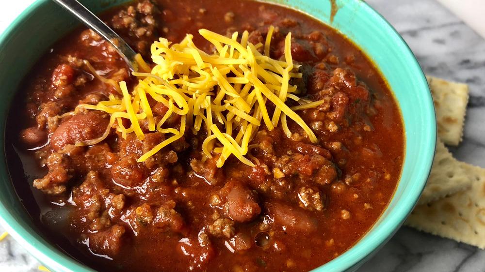 closeup of homemade chili
