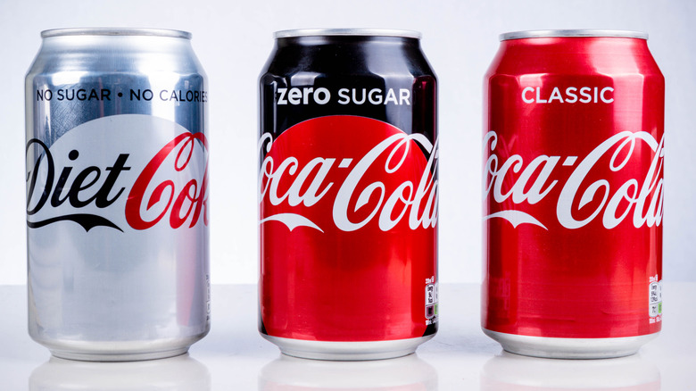Coke products lined up