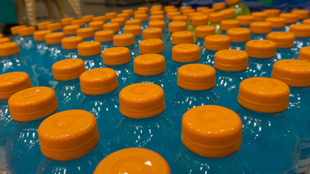 Bottles of blue gatorade