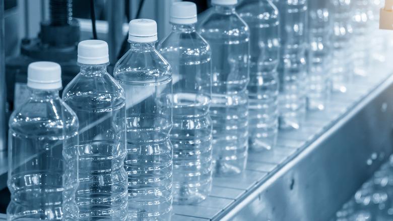 water bottles on conveyor belt