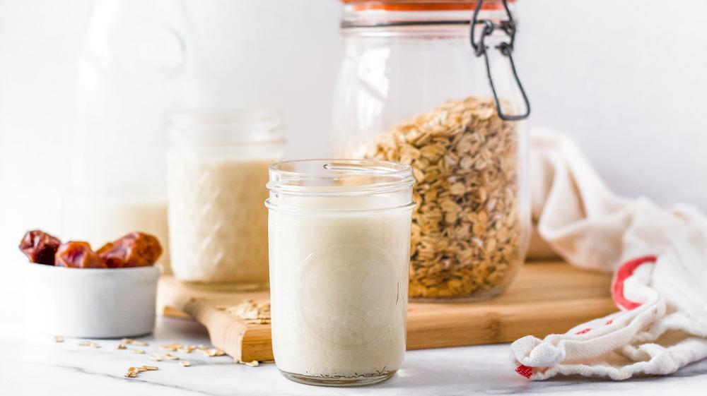oat milk in mason jar