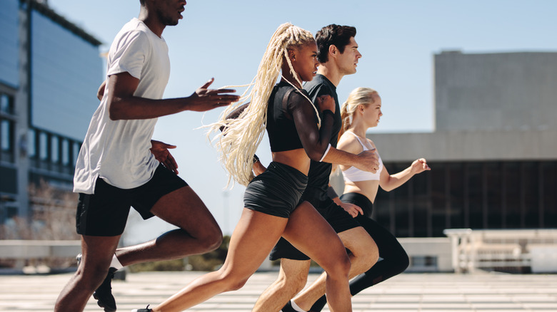 A group of people on a run