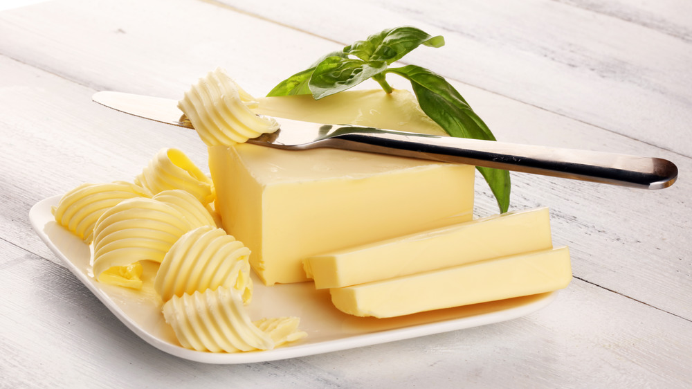 Margarine spread on a dish