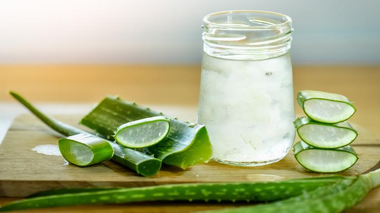 Aloe vera juice in a jar