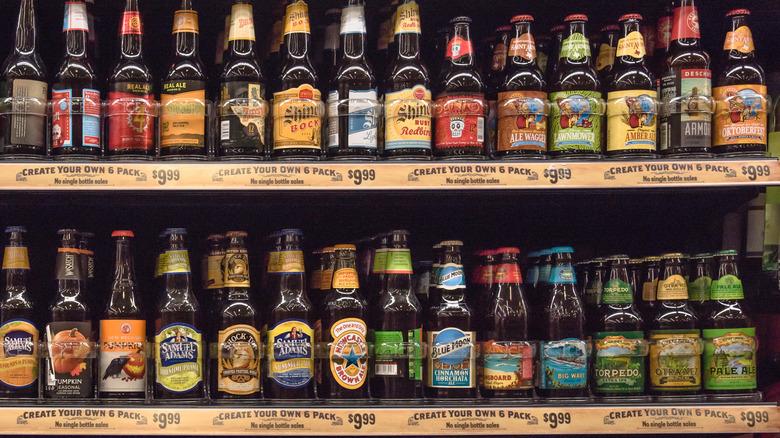 beer on store shelf