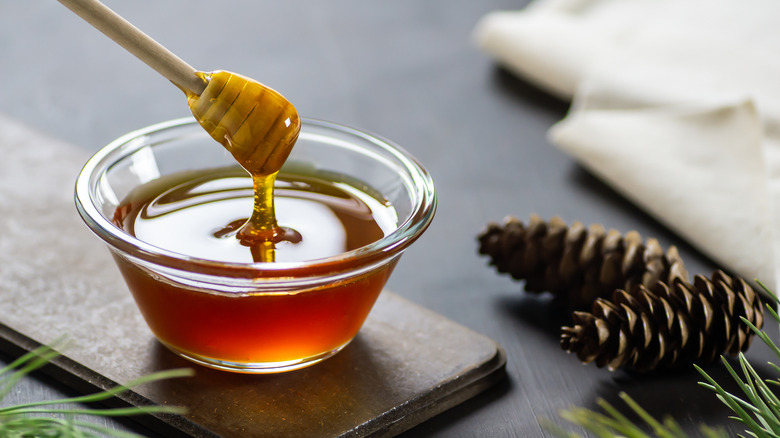 honey in a bowl on a table