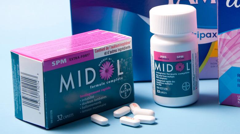 Midol pill bottle and box
