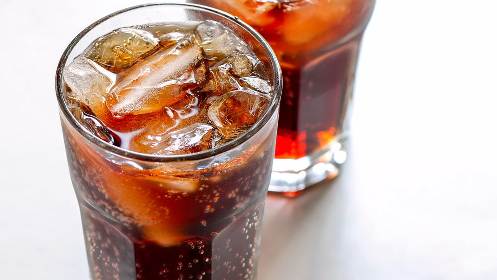 overview of Diet Coke in a glass with ice