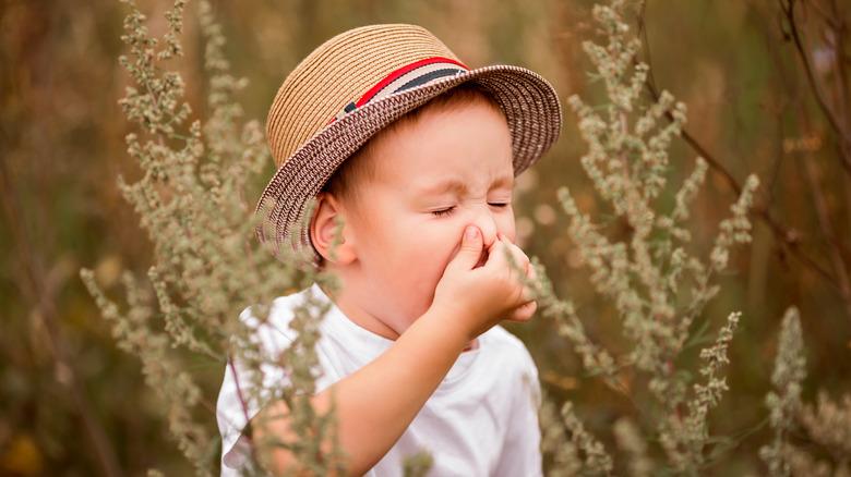 Child sneezing with pollen allergy