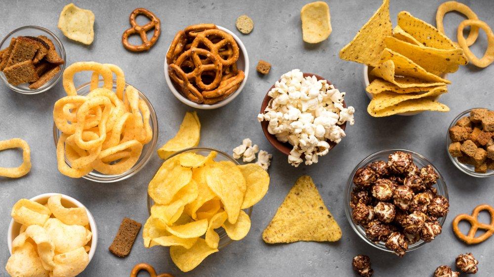 Salt, Chips, Popcorn, Pretzels