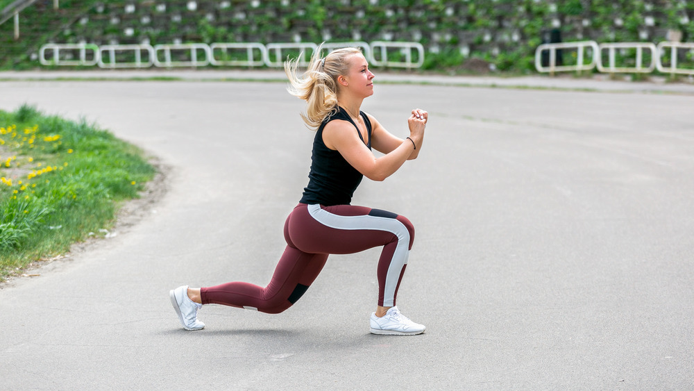 Woman performing a lunge