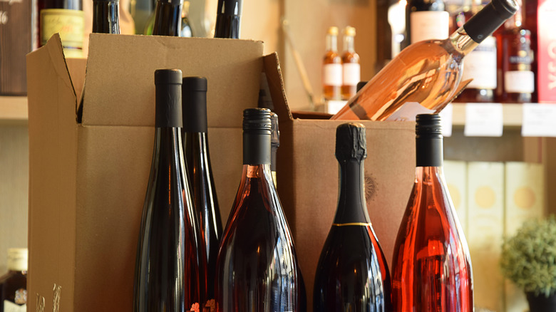 Various wines in and out of boxes