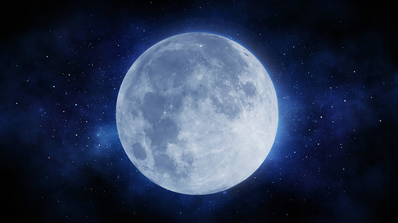 Close up of a full moon