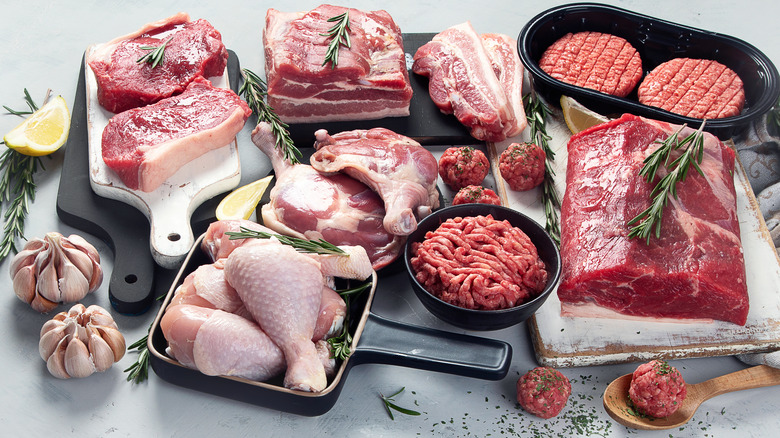 A variety of raw meat on a grey background