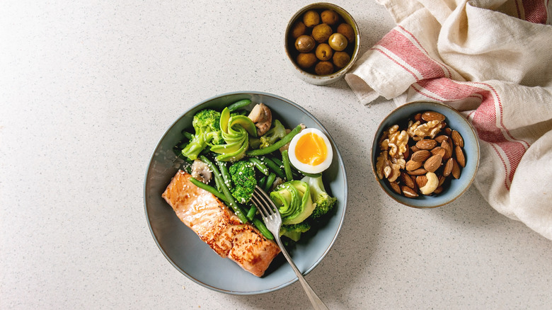 Low-carb, high-protein meal on a table