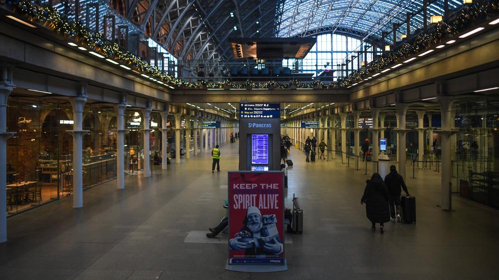 A nearly empty train station in London under COVID-19 lockdown