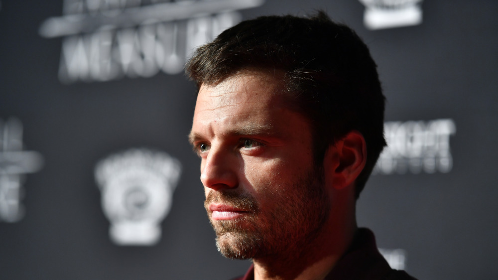A close up of Sebastian Stan at a premier of The Last Full Measure