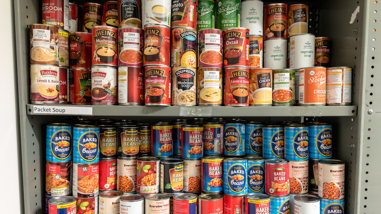 A variety of canned foods