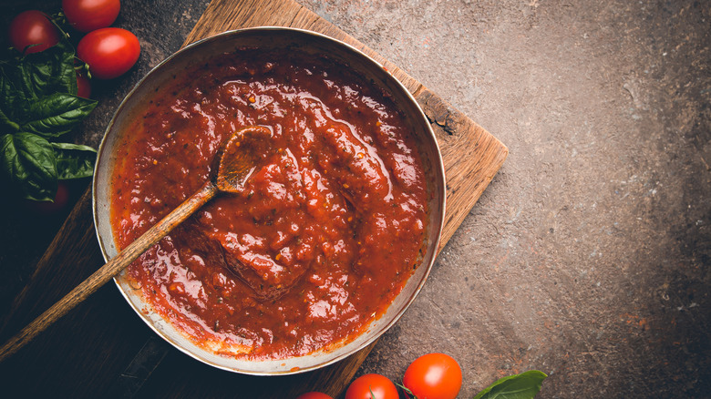 A pan full of red pasta sauce