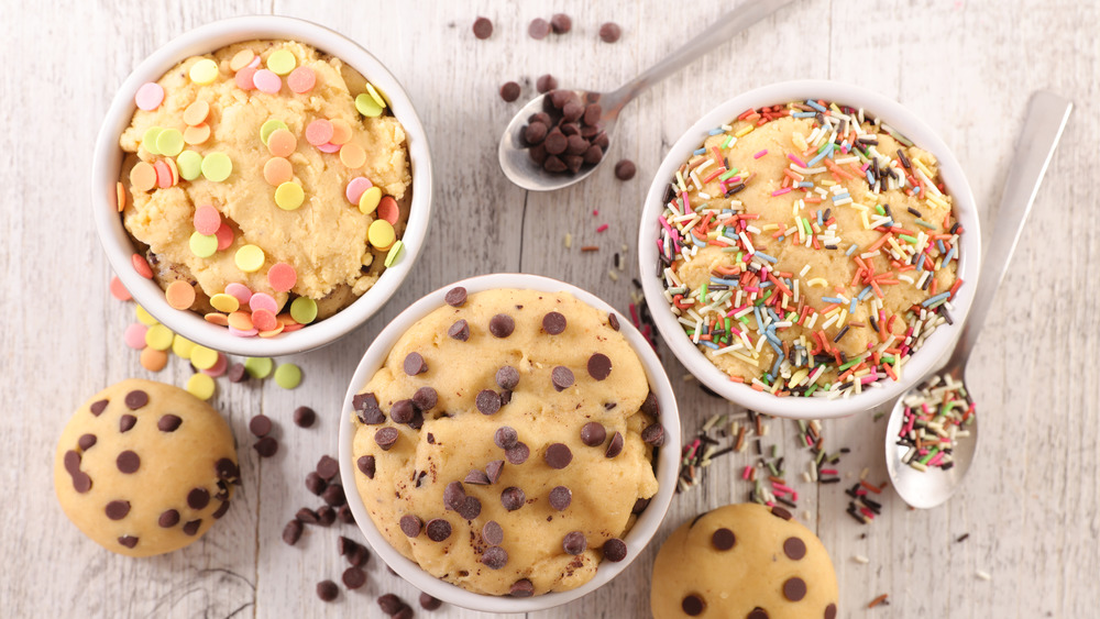 Bowls of raw cookie dough